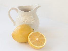 fresh cut lemon and water jug