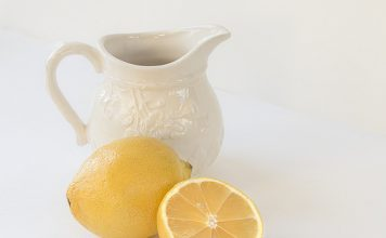 fresh cut lemon and water jug