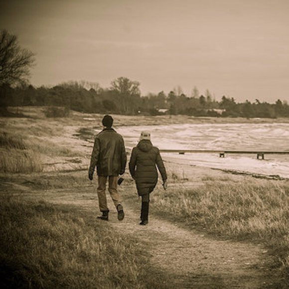 Couple walking along the shore
